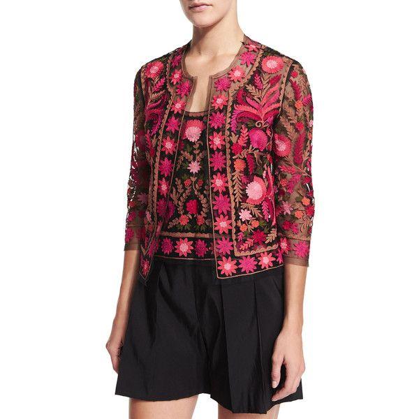 Naeem Khan Embroidered Silk 3/4-Sleeve Jacket ($1,990) ❤ liked on