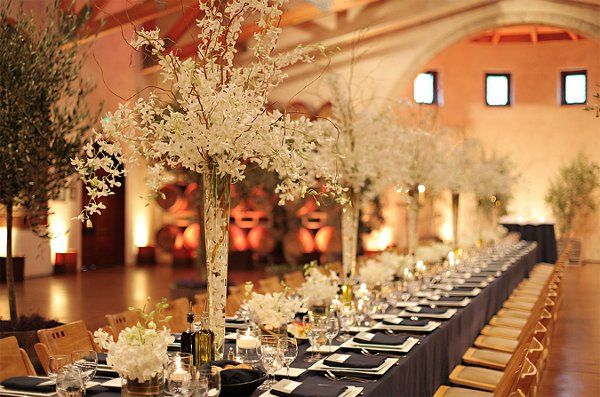 navy, white, silver, pink & green color scheme wedding | Tall white centerpiece on Kings tableColor scheme White & Navy