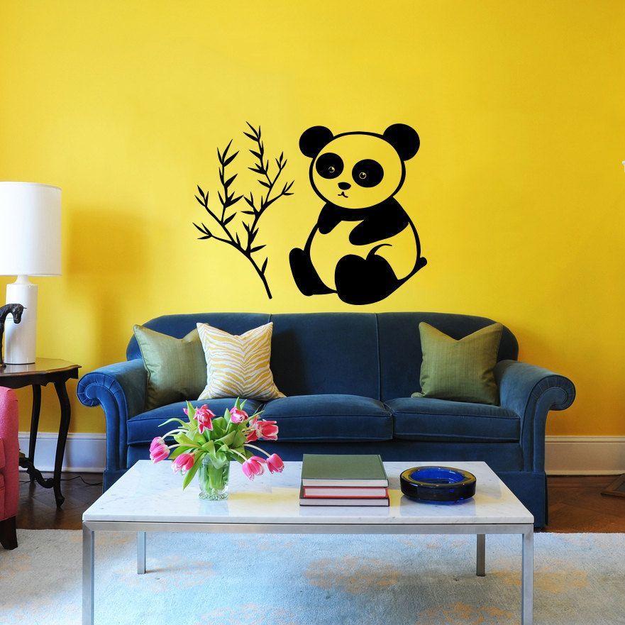 Cute Panda Vinyl Sticker Wall Art | Products | Pinterest | Panda ...
