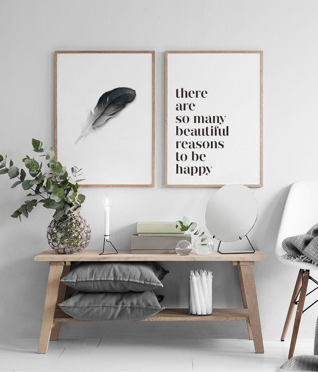 Schwarz-Weiß-Poster passen gut zu Pastellfarben. #halinrichting