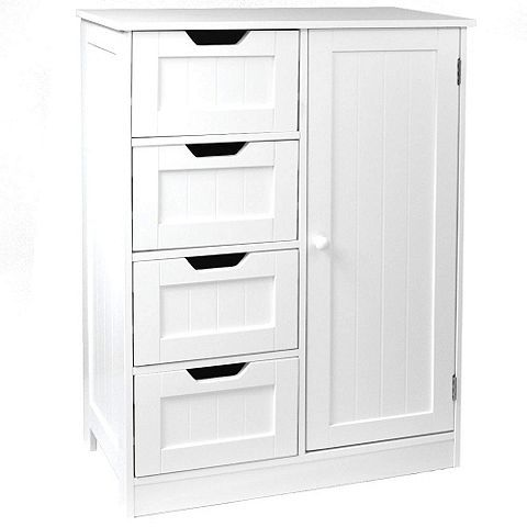Tesco Direct Tetrad 4 Drawer Tongue And Groove Bathroom Storage Chest With Cupboard White Cupboard Storage Bathroom Storage Chest White Bathroom Storage