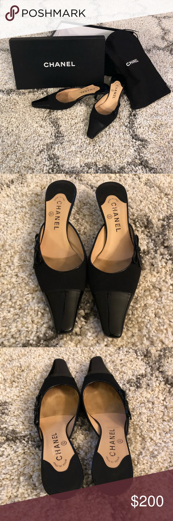 09084d3a87 Chanel kitten heel pointy toe mules 39 These are about as chic as they get!  Absolutely adorable Chanel pointy toe mules in a size 39.