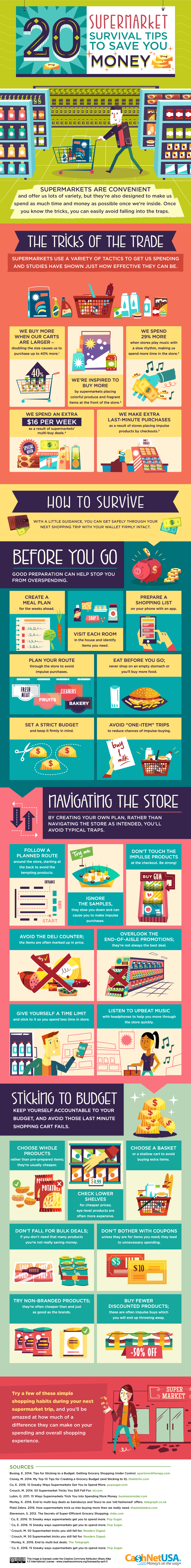 20 Supermarket Survival Tips To Save You Money #Infographic