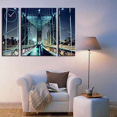 現代アートなモダン キャンバスアート 壁 壁掛け 時計  壁時計 橋 ブリッジ 海 夜景 ウォールクロック 新築祝い お祝い【納期】お取り寄せ2~3週間前後で発送予定【fs04gm】ポイント【楽天市場】