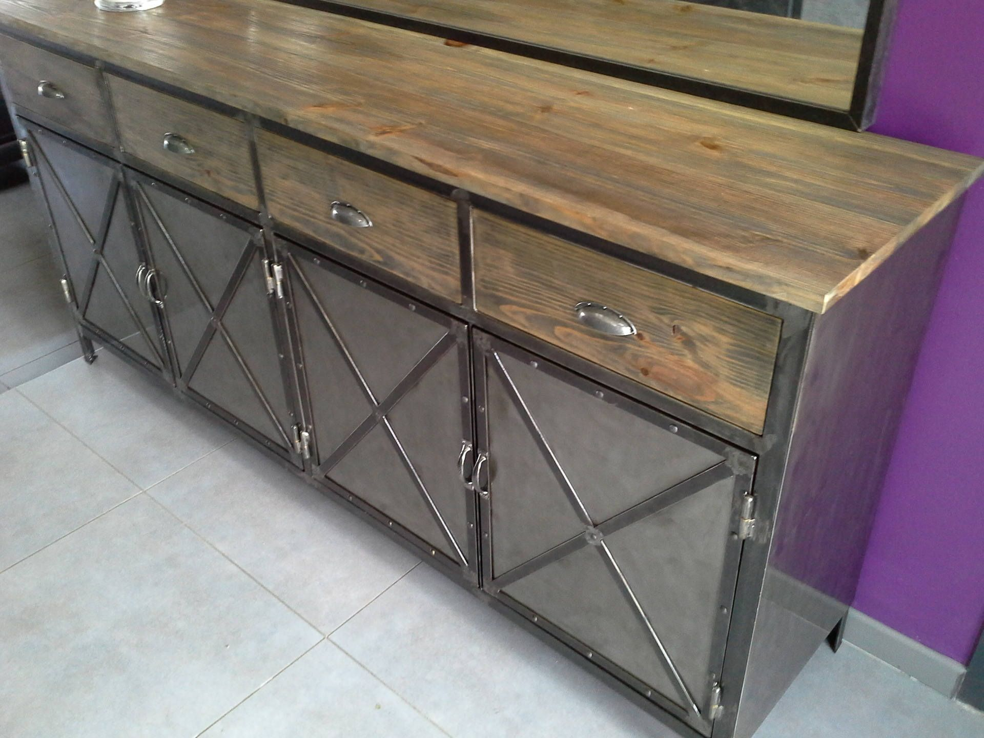Furniture Sideboard 4 Industrial Steel Tray Made Of Solid Pine