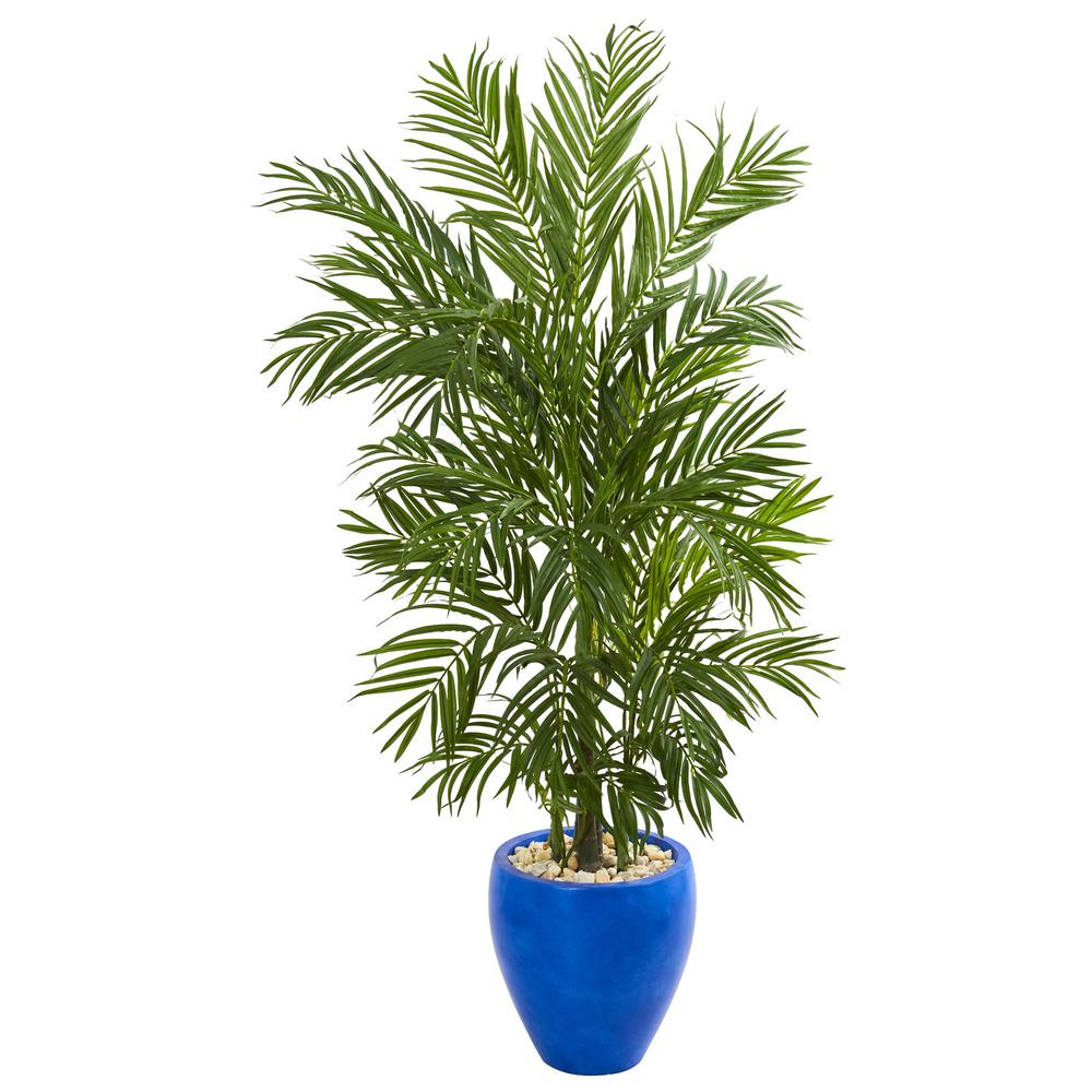 Indoor ft areca palm artificial tree in blue planter products