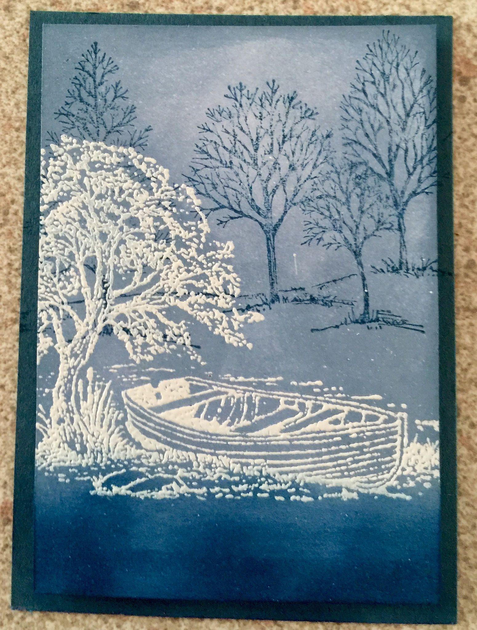 Blue & White  ATC - Bev Giggins.