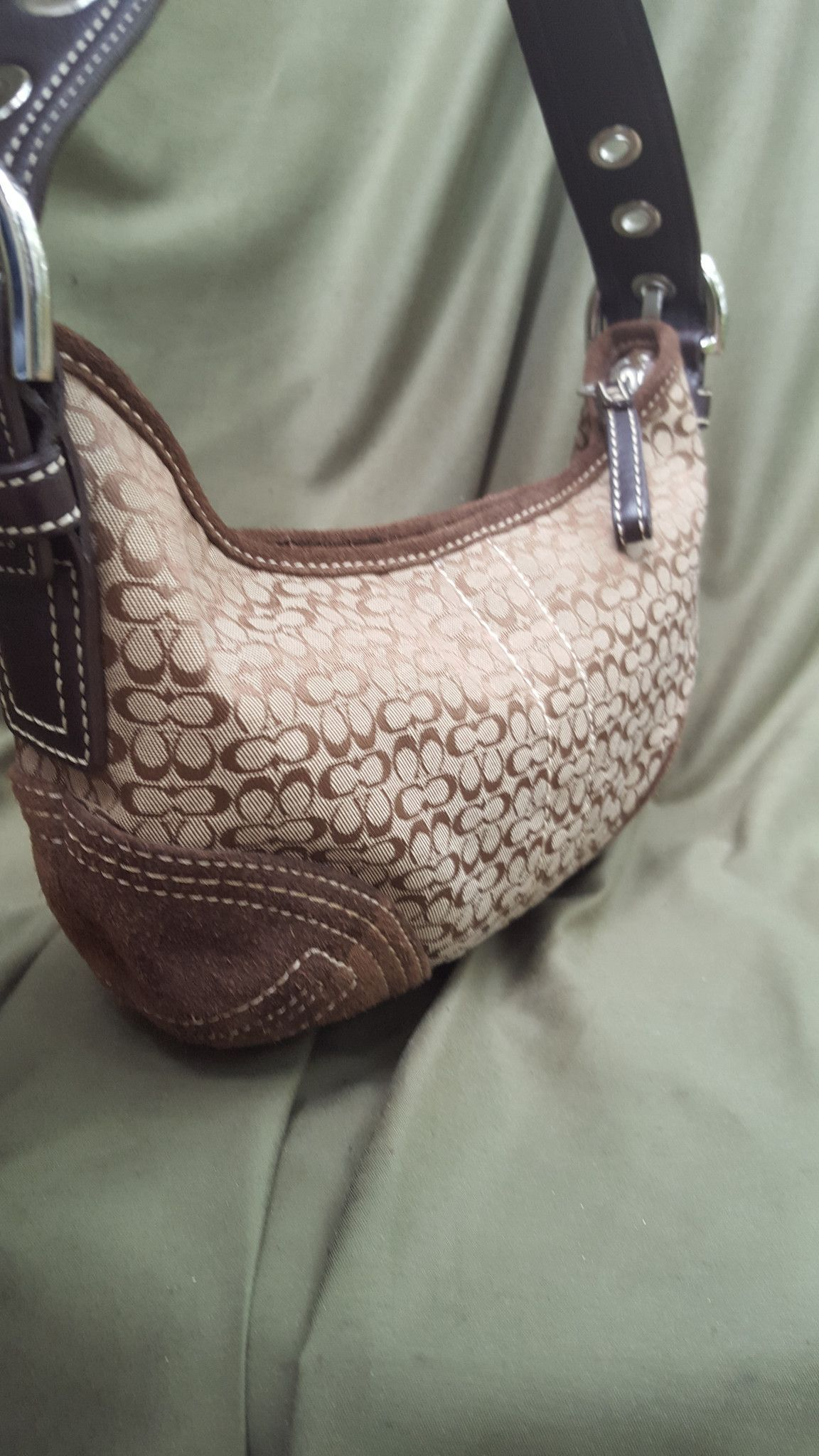 0227180fea97 Brown Coach handbag with signature Coach logo print and brown leather trim  and handle Lining is like new Gently loved and in great condition FREE  DOMESTIC ...
