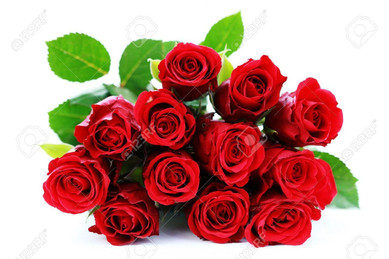6166649 Mazzo Di Rose Rosse Su Fondo Bianco