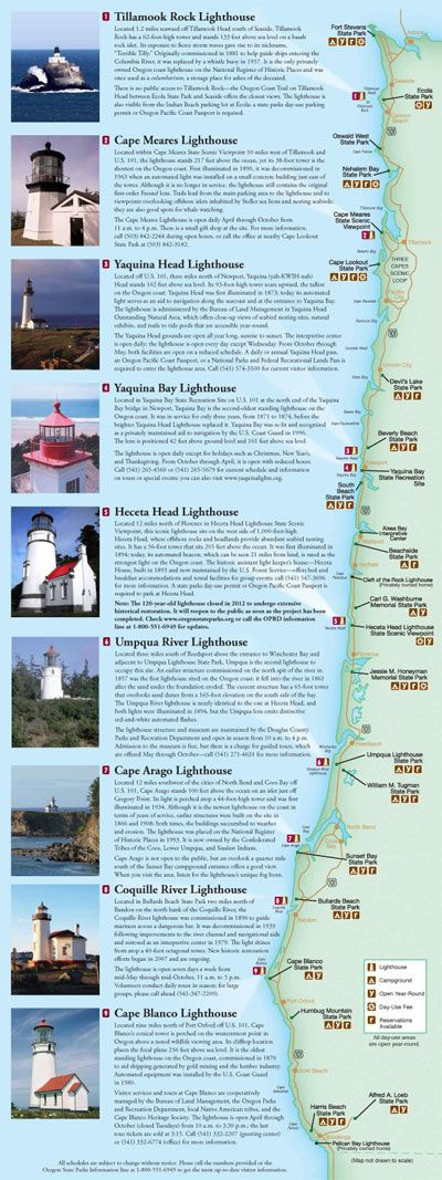 Lighthouses In Oregon Map.Image Result For Oregon Coast Lighthouses Map Pacific Northwest
