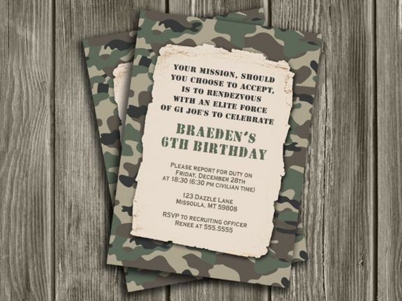 Printable Camo Birthday Invitation | Camouflage | Army ...