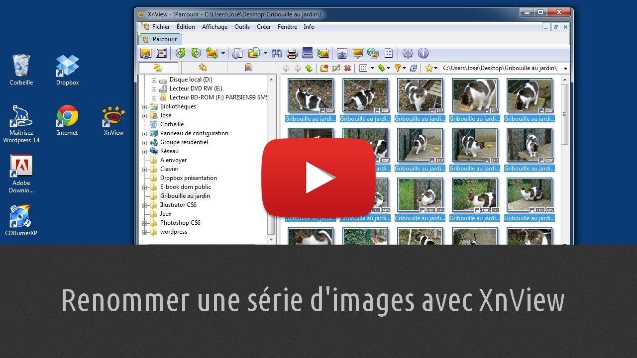 Apprenez à renommer un groupe entier de photos en une seule manipulation à l'aide du logiciel XnView. On appelle cette action « renommer par lots ». Elle vous permettra de gagner un temps fort appréciable si vous avez des dizaines de photos à renommer. Lien : http://www.pausetuto.com/renommer-par-lots