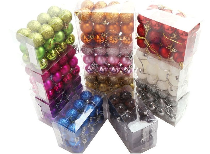 24Pcs Glitter Christmas Balls Baubles Xmas Tree Ornament Christmas