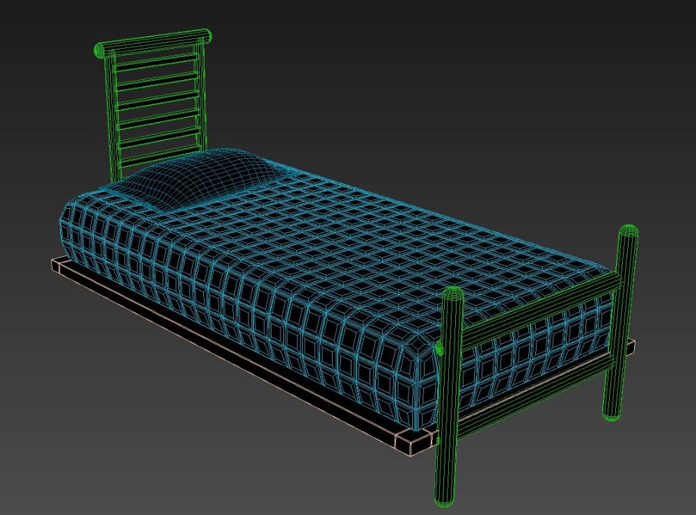 MS Single Bed 9 Inch Mattress Size Elevation Design