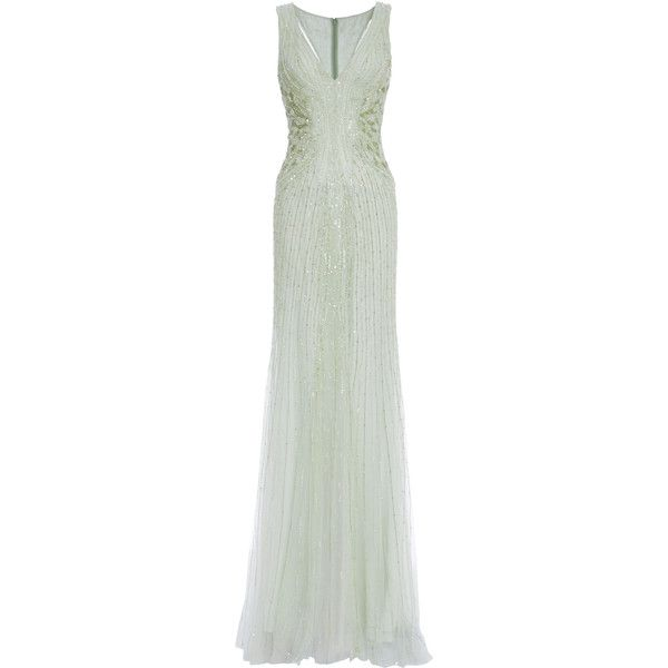 Monique Lhuillier Mint Embroidered Tulle V-Neck Gown ($7,995 ...