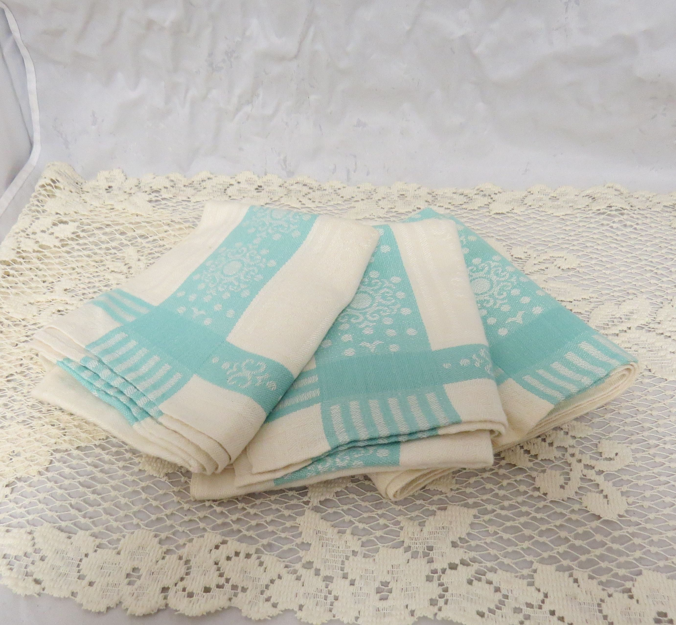 Vintage Large Damask Cotton Cup Towels Hand Sewn Hand Stitched Handcrafted Turquoise White Dish Towels Tea Towels Kitchen Towels Cotton Hand Towels Vintage Linens Hand Sewing