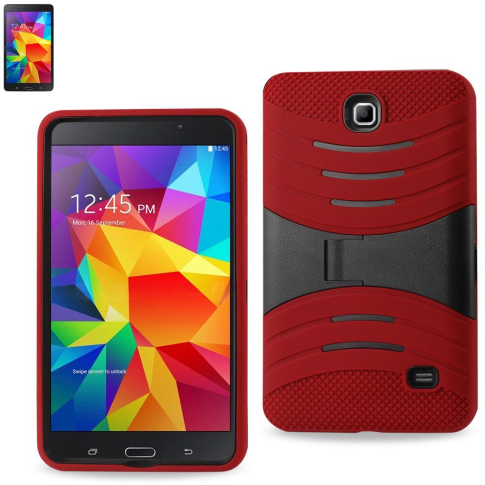 Reiko Silicon Case+Protector Cover Samsung Galaxy Tab 4 7.0 New Horizontal Kickstand Red Black