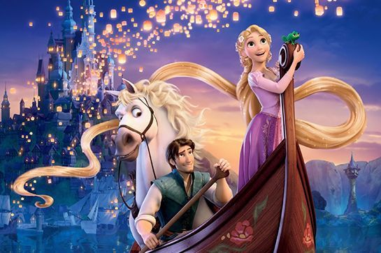"""""""Love Story"""" → Tangled (2010)Another heroine trapped in a tower waiting for her Romeo (here, Flynn Rider) to save her? Rapunzel. #refinery29 http://www.refinery29.com/2015/08/92955/taylor-swift-videos-disney-movies#slide-8"""