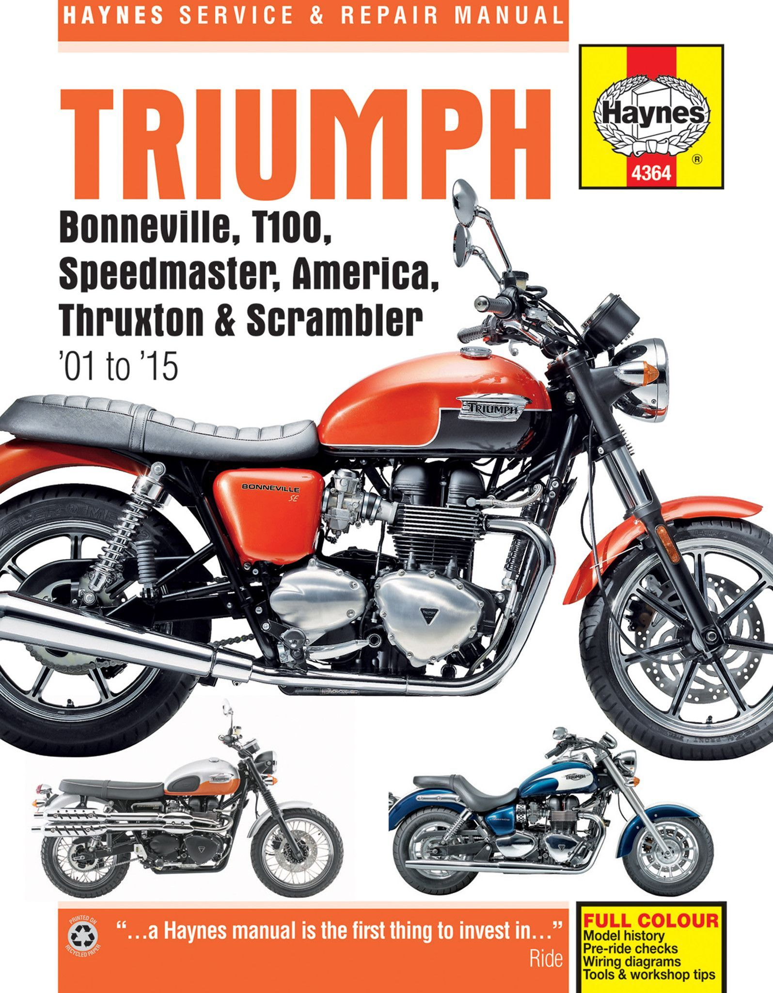Haynes M4364 Repair Manual for Triumph Bonneville, T100, Speedmaster, America, Thruxton and Scrambler