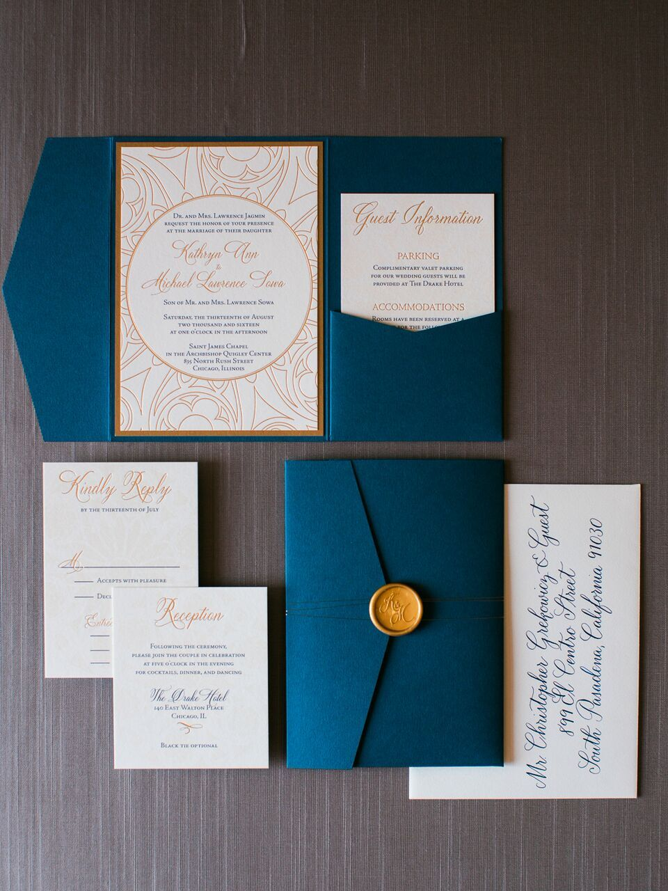 Sophisticated Blue And Gold Chicago Wedding From Kristin La Voie