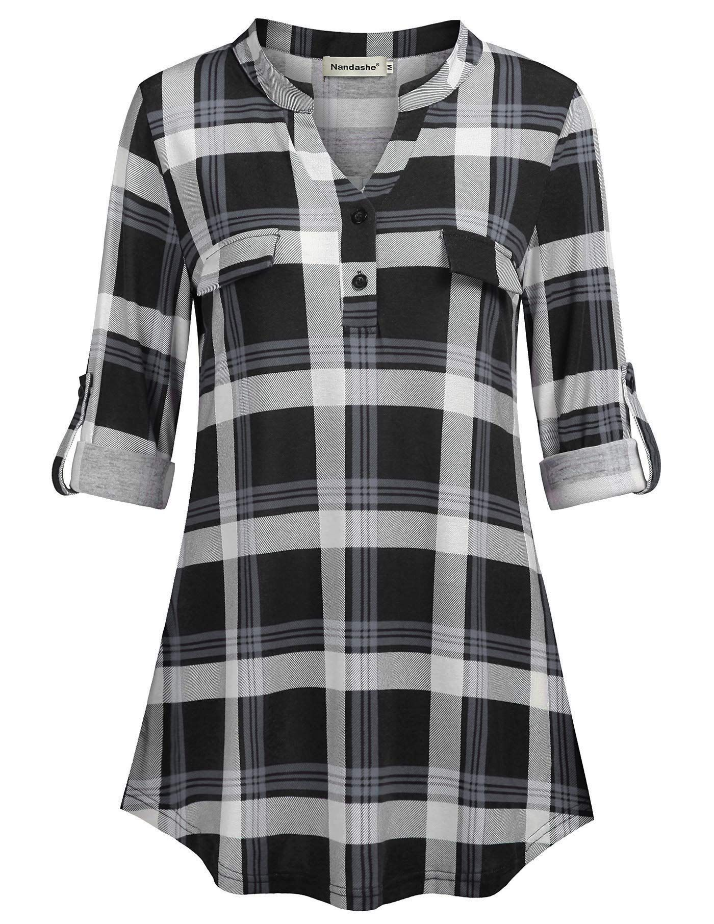 02dde95a20b8ca Nandashe Womens 3/4 Roll Sleeve Shirt V Neck Button Down Blouse Loose Tunic  Tops price($): 14.99~ brand: Nandashe ,sold by Nandashe 4.4 out of 5 stars  via ...
