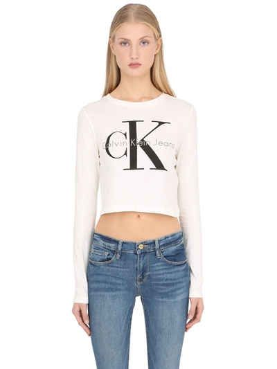 399d4429 CALVIN KLEIN JEANS TRUE ICON CROPPED LONG SLEEVE T-SHIRT. #calvinkleinjeans  #cloth #t-shirts