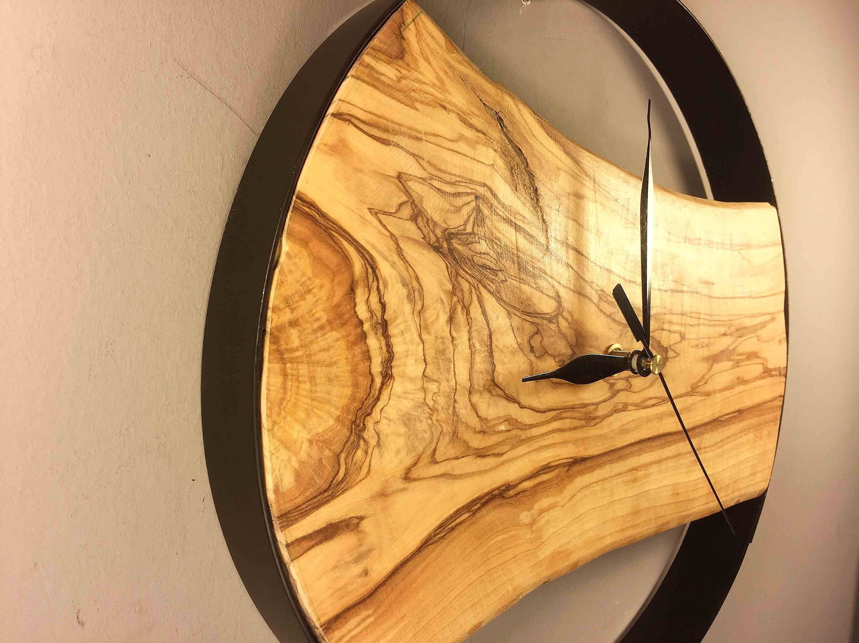 Modern Wooden Wall Clock Large Unusual Wood Tree Slice Art By Woodclockdesign On Etsy