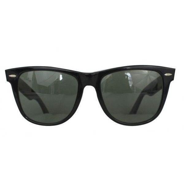 Pre-Owned Vintage 1980s Ray Ban Black Wayfarer Ii Sunglasses (310 BRL) ❤ liked on Polyvore featuring accessories, eyewear, sunglasses, glasses, black, ray ban eyewear, wayfarer sunglasses, plastic wayfarer sunglasses, vintage glasses and vintage eyewear