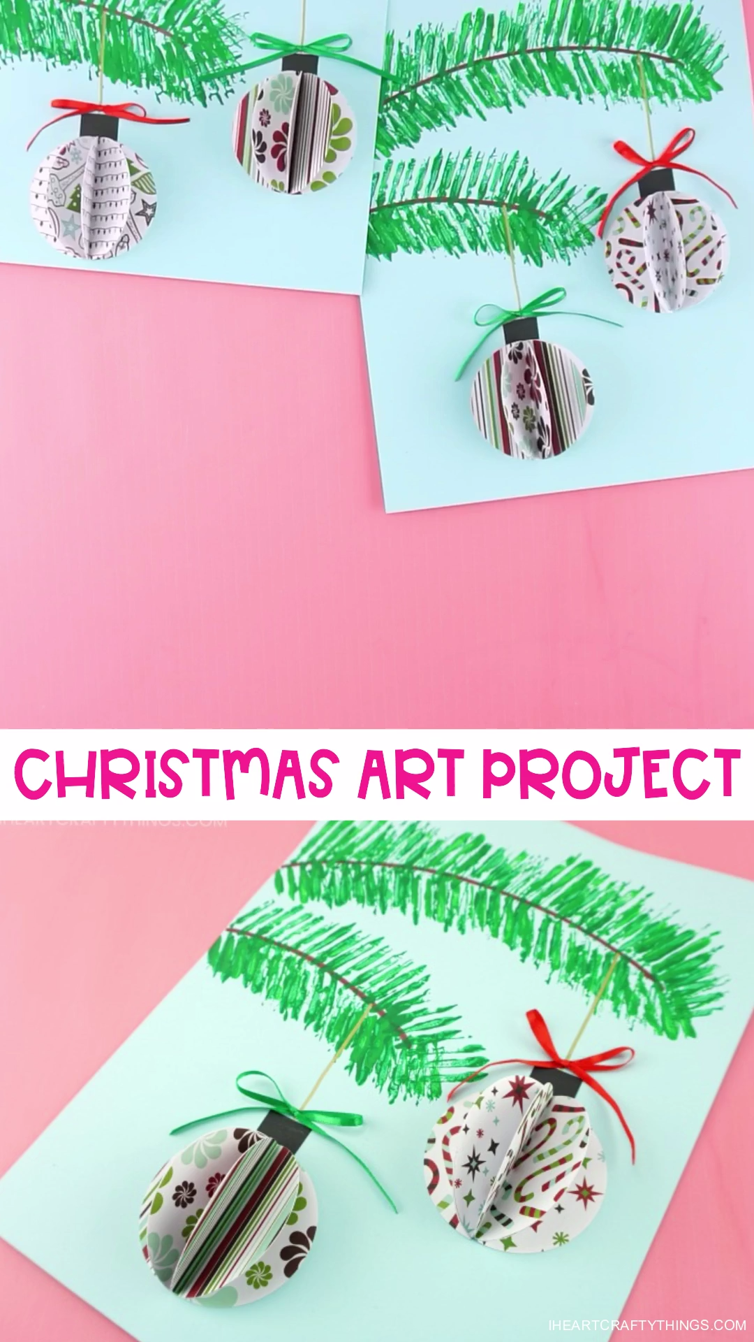 This beautiful 3D paper ornaments craft project is simple for kids to make and it makes a stunning Christmas decoration. Fun Christmas craft for kids and adults! #iheartcraftythings