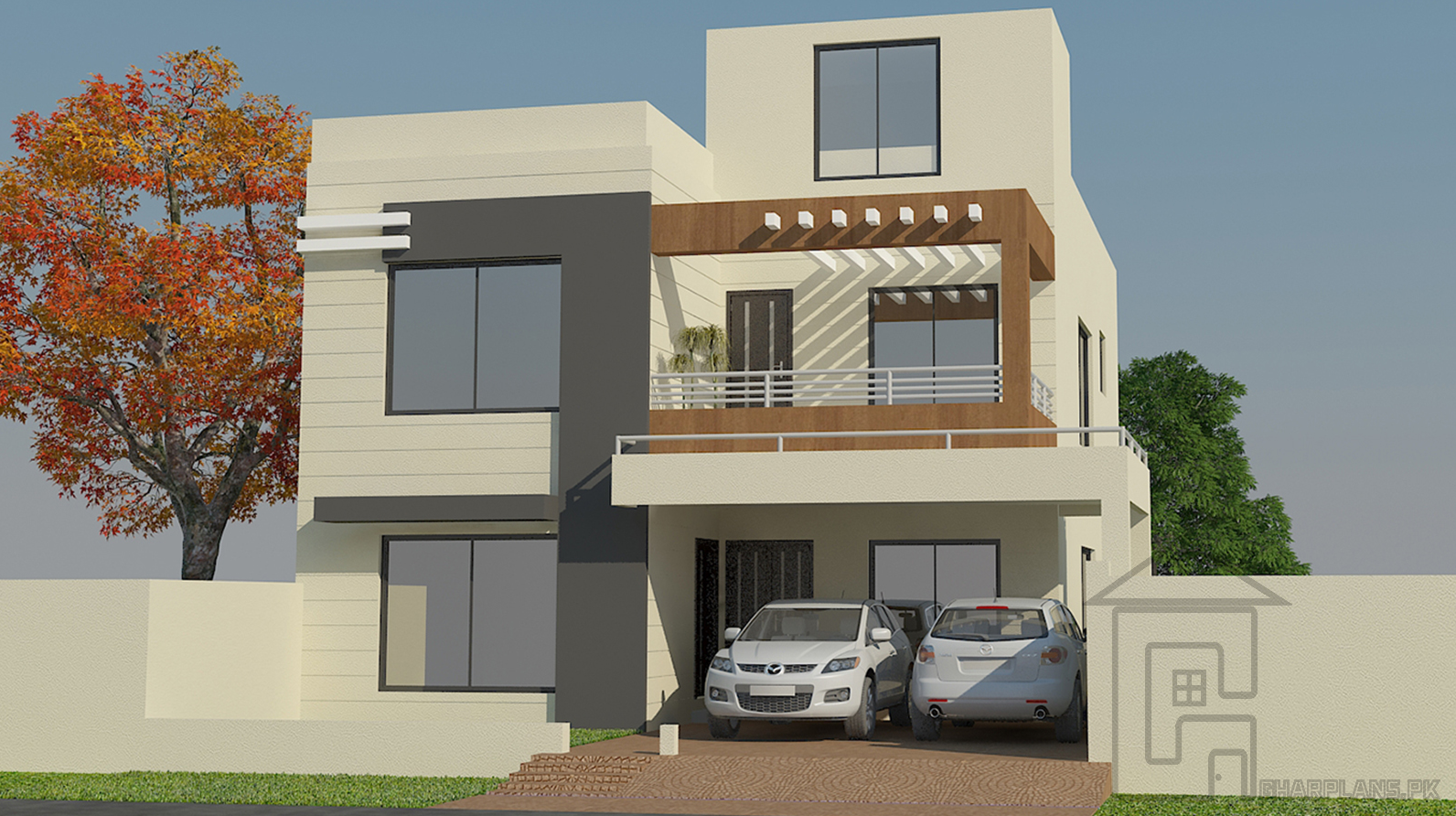 Pakistani house designs 10 marla 35 ft front and 65 ft depth and has 3 storeys this house design of pakistani style has 3 bedrooms with 3 bathrooms and
