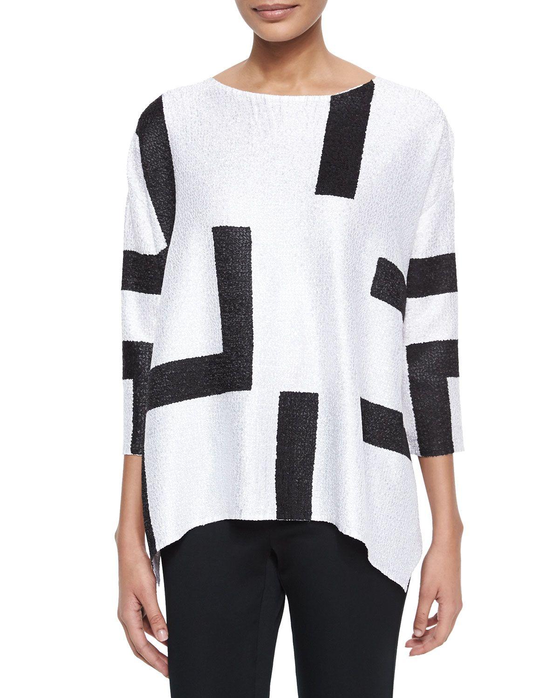 3/4-Sleeve Abstract Pullover Tunic, Women's, Size: XL/XXLARGE 14/16+, White - Berek