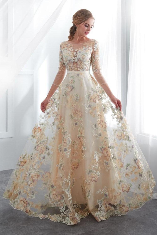 Una línea de vestidos de fiesta florales hasta el suelo mangas 3/4 una línea de cintura imperio vestidos largos de noche US$ 219.00 VTOPLHKMBHK - VestidoBello.com
