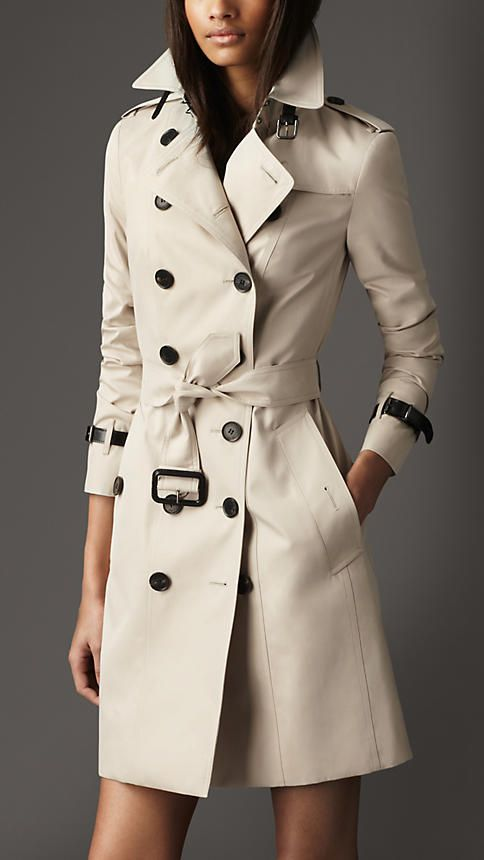 Long Slim Fit Leather Detail Trench Coat | Burberry