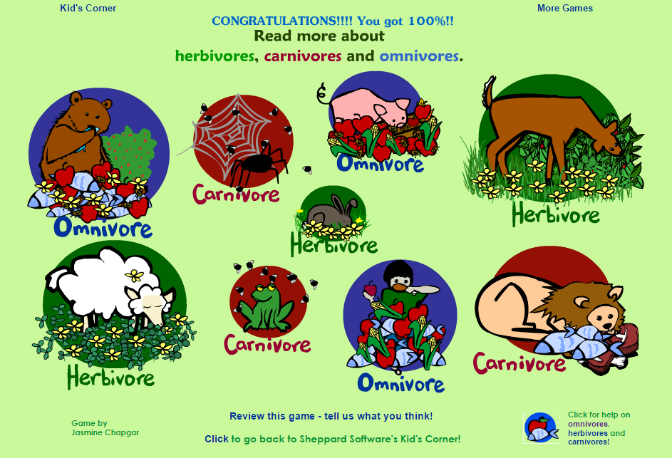 Animal Diet Game, educational game. Animals are called
