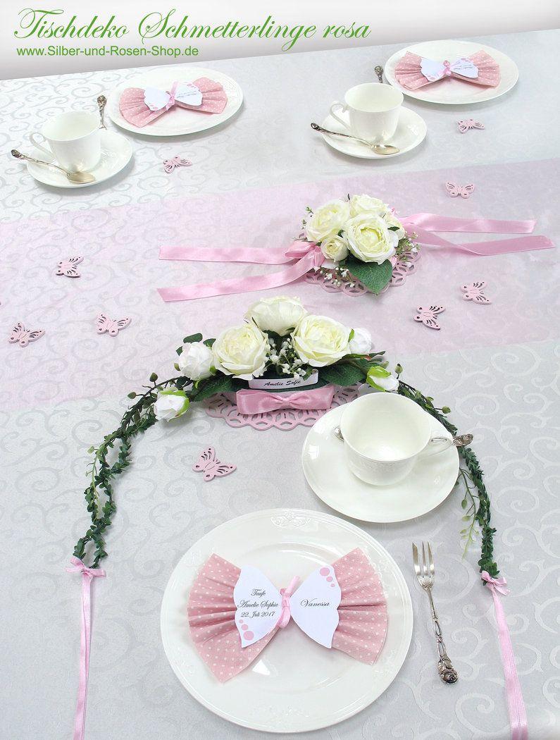 Schmetterlings Tischkarten Mit Druck Servietten Rosa Taufdeko Tischdeko Taufe Und Deko Taufe