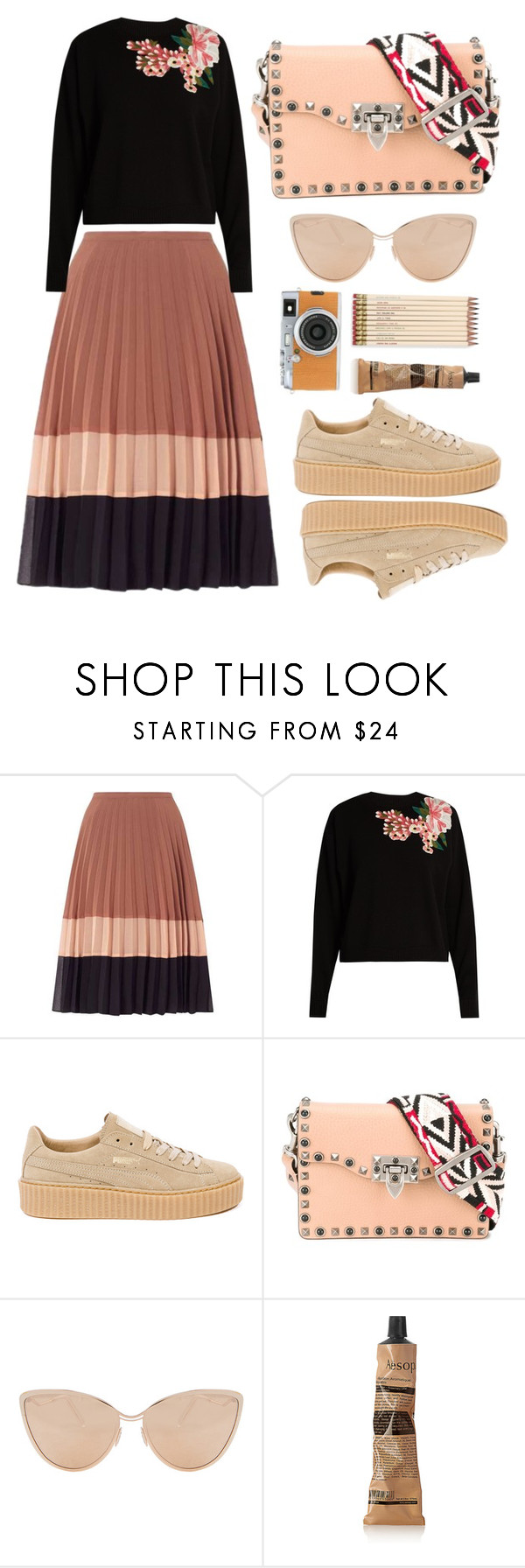 """""""street style"""" by agatka-lewek ❤ liked on Polyvore featuring Miss Selfridge, Dolce&Gabbana, Puma, Valentino, Cutler and Gross, Aesop, Kate Spade and Fujifilm"""
