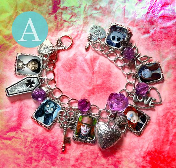 Silver Plated Charm Bracelet With Charms Johnny Depp Mad Hatter Sweeney Todd