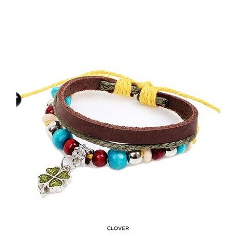 Multi-Layered Genuine Leather Beaded Bracelet with Charm at 82% Savings off Retail!