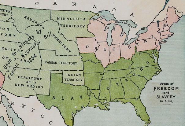 Slavery States Map.Nited States 1854 A Map Of The United States From 1854 With