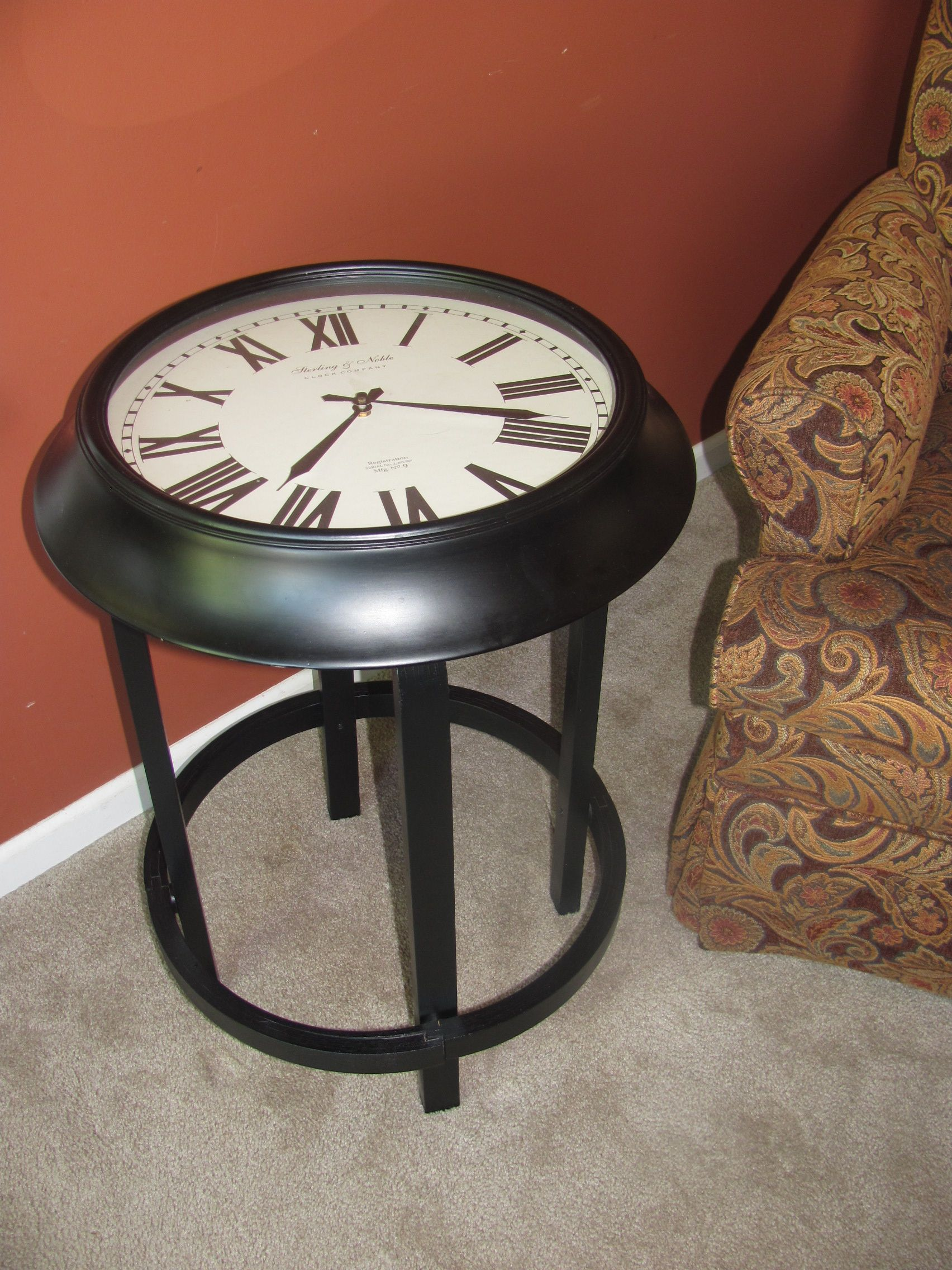 I Made This Table From A Broken Clock An Old Stool My Neighbor