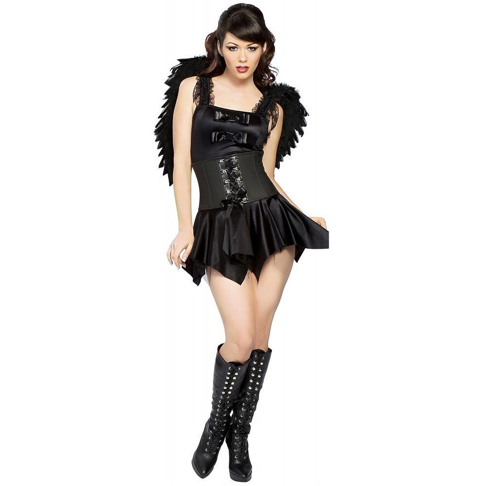Details about Gothic Angel Dark Black Raven Costume Halloween ...