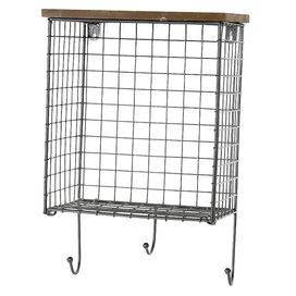 Wire-framed wall shelf with a wood top and suspended hooks