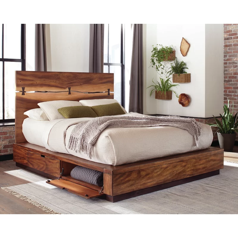 Winslow Storage Platform Bed Furniture Walnut Bed Bedroom Sets