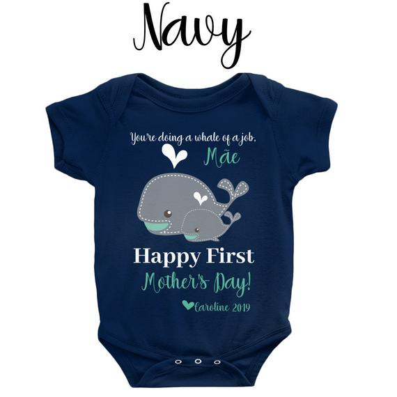 Personalised Baby Vest Bodysuit Happy First Fathers Day Named Blue Baby Romper