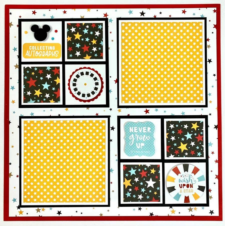 Preassembled 12x12 Disney-theme 6-page Scrapbook Kit This is a preassembled set of scrapbook pagesthat includes SIX 12x12 scrapbook pages. The theme is Disney-like, with fabulous colors of black, red, yellow and a touch of blue. Save many wonderful vacation memories on these pages! There is space for 20 photos of vary