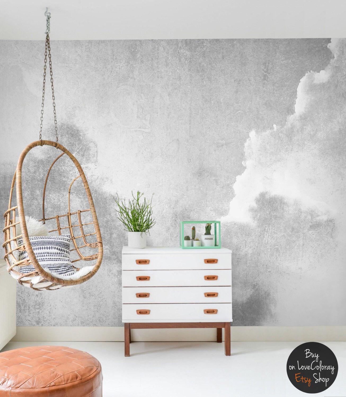 Gray clouded temporary wallpaper Dreamy wall Nursery wallpaper
