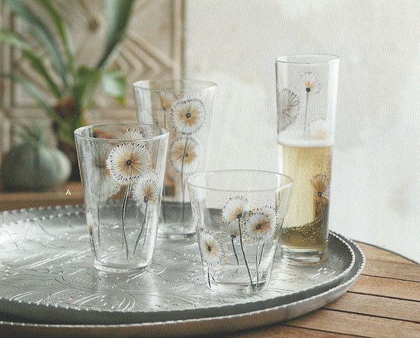 Superior Roost Dandelion Flower Glassware, Set/6