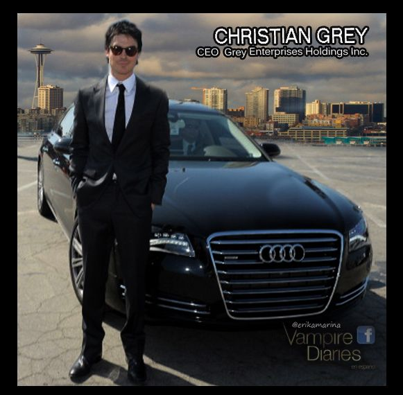 Ian Somerhalder As Christian Grey With His Audi And Taylor - Audi car in 50 shades of grey
