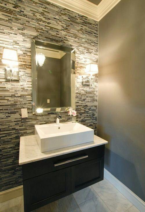 Below Chair Rail In 1 2 Bath Guest Bathroom Small Modern Powder Rooms Guest Bathrooms
