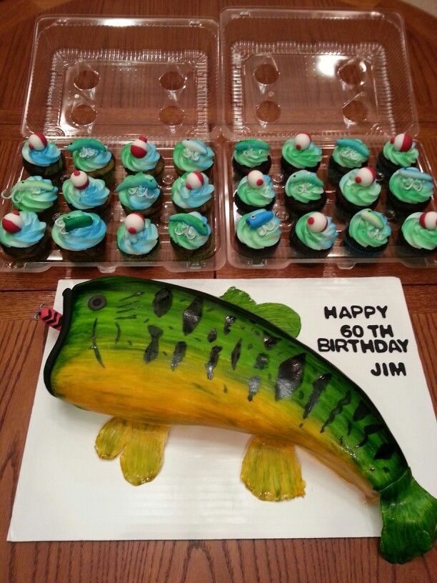 Bass Fish Fishing Cake And Fishing Lure Cupcakes Cakes I